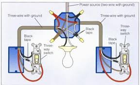 wiring a  way switch  way power at light  diagram