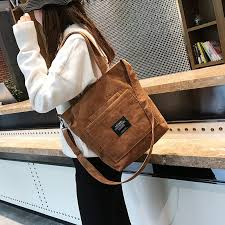 Women <b>Corduroy Zipper</b> Shoulder <b>Bags</b> Female Artsy <b>Handbags</b> ...
