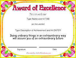 good looking award template word sample for certificate nice template word for award of excellence colorful flowers and pink title color a part beautiful design of certificate