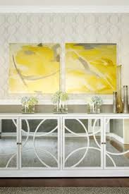 stunning dining room features side by side yellow abstract art on seabrook wallpaper over b131t modern noble lacquer