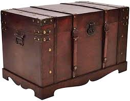 vidaXL Vintage <b>Large Wooden Treasure Chest</b> Mocha Brown Pirate ...