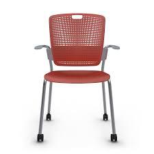 Shell <b>Red</b> Cinto Chair with Arms, Rolling, Silver <b>Frame</b>| <b>Modern</b> ...