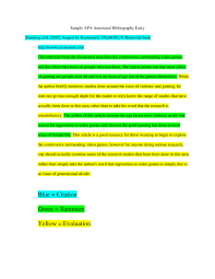Annotated bibliography research paper example Annotated Bibliography Samples