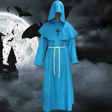 Wizard Monk <b>Medieval</b> Robe Hooded Cap <b>Halloween Costume</b> ...