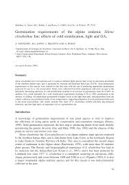 Germination requirements of the alpine endemic Silene elisabethae ...