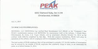hovensa reopening in  peak maintenance llc termination letter