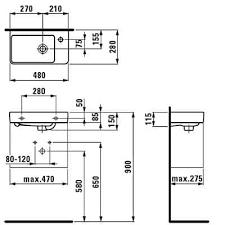 Мини-<b>раковина Laufen PRO S</b> 815954 (480x280х150) справа ...