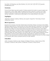 professional school library media specialist templates to showcase resume templates school library librarian resume examples