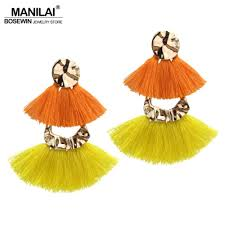 MANILAI <b>Bohemian</b> Layered Alloy Tassels Earrings For Women ...