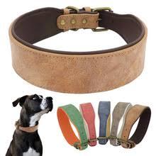 <b>Широкий кожаный ошейник</b> для собак, большой мягкий ...