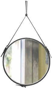 Light up life/Vintage Round Leather Framed <b>Wall Mounted Mirror</b> ...