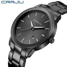 <b>2016</b> New CRRJU <b>quartz watches</b> Black full steel Vogue Casual ...