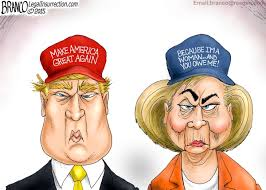 Image result for caricature of trump and hillary sounding the alarm