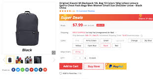 <b>Original Xiaomi Mi Backpack</b> 10L (Black) is just $7.99 for a day ...