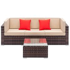 Fully Equipped Weaving Rattan Sofa Set with 2pcs corner sofas ...