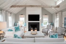 light and bright while honoring gray inspiration for a large beach style formal open concept living beach style living room