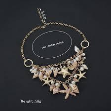 Conch <b>Shell Starfish</b> Simulated <b>Pearl</b> Necklace Sweet Fashion <b>Sea</b> ...