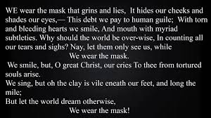we wear the mask essay we wear the maskquot by paul laurence we wear the mask essay our workwe wear the mask mega essays