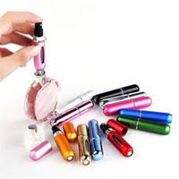 refillable bottles aluminum tube glass bottle 5 ml 6 colors mini portable travel perfume atomizer