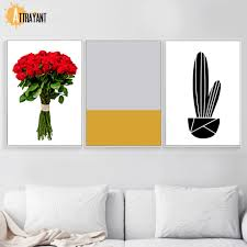 Cactus Rose Inhale Exhale <b>Abstract</b> Flower Wall Art Canvas ...