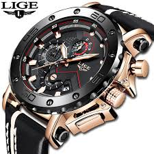 LIGE New <b>Luxury Brand Men</b> Analog Leather Sports Watches Men's ...
