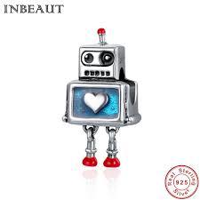 2019 <b>INBEAUT Hot Sale 100</b>% 925 Sterling Silver Cute Robot Heart ...