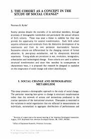 the cohort as a concept in the study of social change springer inside