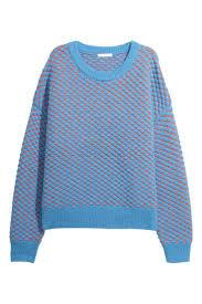 <b>Джемпер</b> - Голубой/Оранжевый - Женщины | H&M RU | Вязаные ...