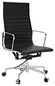 ribbed high back office chair in black genuine leather modern office chairs black office chair