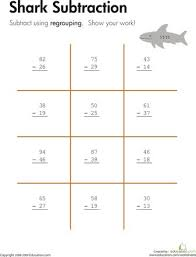 Sharks, Worksheets and Shark week on PinterestWorksheets: Shark!: Two-Digit Subtraction with Regrouping