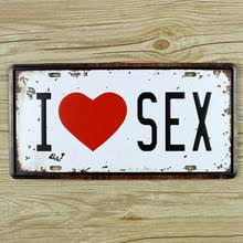 home decor plate x: lkb x  new  license plates about car numberquot i love sex quot home decor wall art craft vintage iron for bar sizex cm