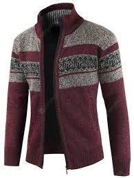 Color Matching Stand Collar Long Sleeve Sweater Cardigan for Men