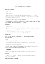 standard resume layout resume format  standard resume layout
