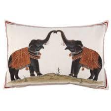 Two Elephants Decorative Pillow - John Robshaw Textiles