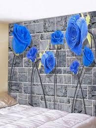 <b>Rock Stone Wall</b> Rose <b>Print</b> Wall Hanging Tapestry | Gearbest