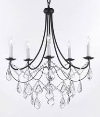 wrought iron black 5 light chandelier pendant with empress crystal tm b12 black chandelier lighting photo 5