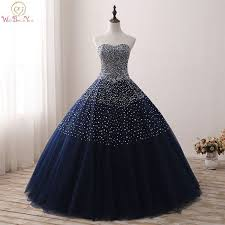 <b>Navy Blue Quinceanera</b> Dresses Stock Ball Gown Beaded ...