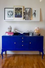love this bright cobalt blue vintage console bright coloured furniture