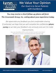 we value your feedback lynn community health center patient survey poster 1