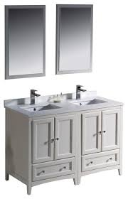 traditional style antique white bathroom:  inch antique white traditional bathroom vanity w  side cabinets