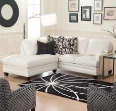l beautiful chic white upholstery leather of discount small sectional sofa with black wooden base feet and nice pattern theme cover throw cushions chic small white home