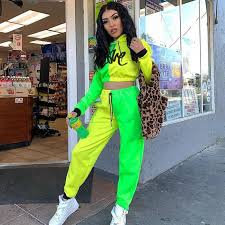 <b>2019 Neon</b> Green Solid <b>Tracksuit Women</b> Set Casual Outfit Cute ...