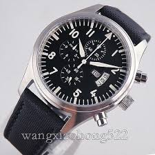 <b>42mm Parnis black dial</b> white number Multifunction quartz WATCH ...