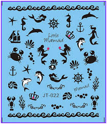 1X Nail <b>Sticker Black</b> & White <b>Mermaid</b> Fish Sea Horse <b>Stickers</b> Nail ...