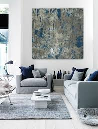 large abstract painting teal blue navy grey gray white canvas art wall art big huge painting blue couches living rooms minimalist