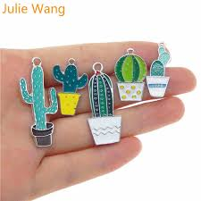 <b>Julie Wang 5PCS Mixed</b> Enamel Plant Potted Cactus White K Tone ...