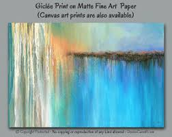 giclee fine art print of abstract painting designed for teal and coral home or office decor art force office decoration