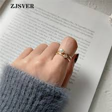 2019 <b>ZJSVER Korean Jewelry 925</b> Sterling Silver Rings Golden ...