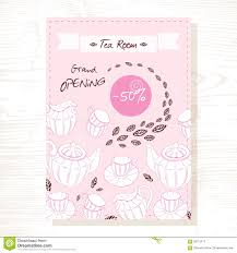 tea room flyer template tea service in vector hand tea room flyer template tea service in vector hand drawn illustration