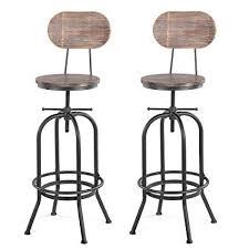 <b>iKayaa</b> 2 pcs <b>Industrial Bar</b> Chair with Backrest <b>Bar</b> Stool Kitchen ...